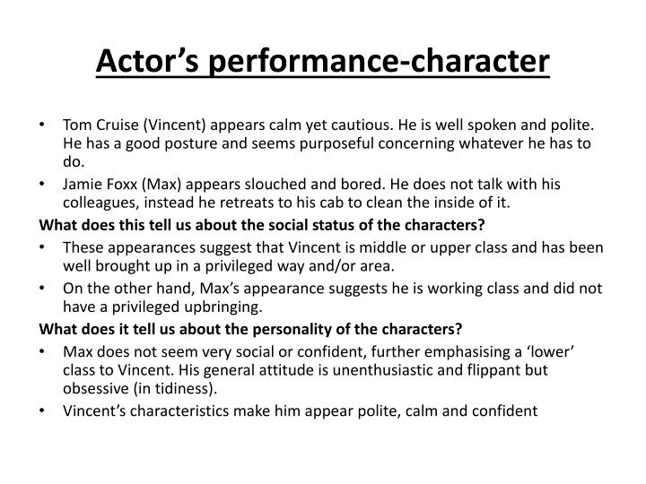 Actor's performance-character