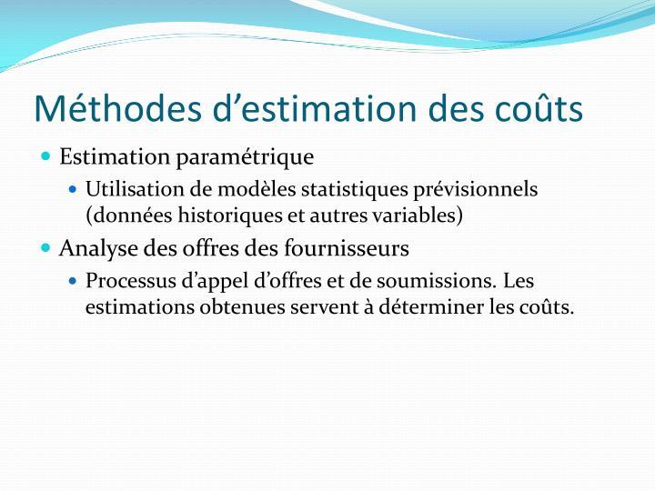 Méthodes d'estimation des coûts