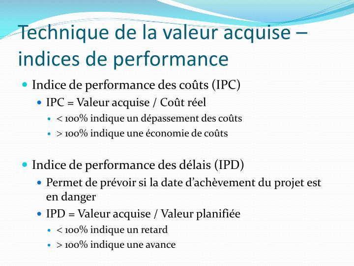 Technique de la valeur acquise – indices de performance
