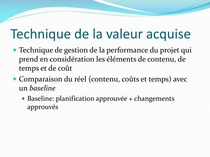 Technique de la valeur acquise