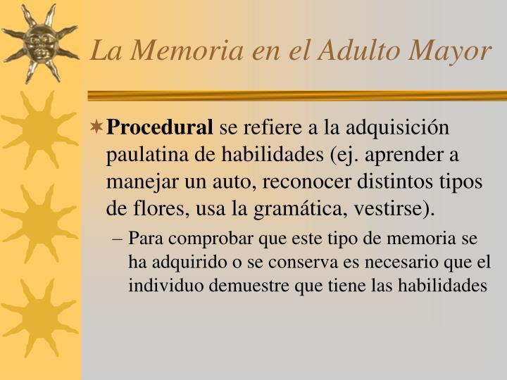 La Memoria en el Adulto Mayor
