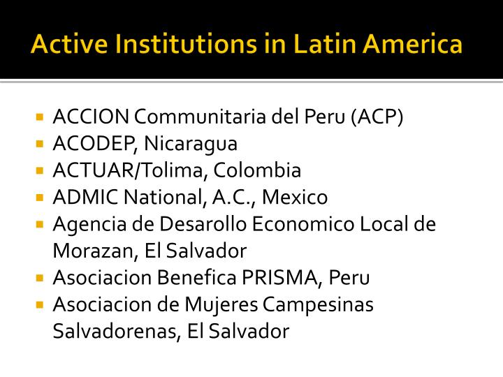 Active Institutions in Latin America