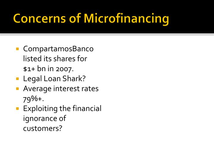 Concerns of Microfinancing