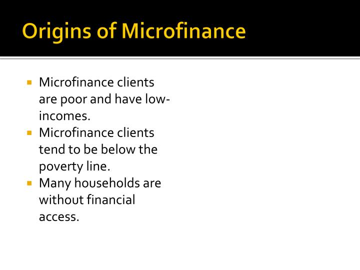 Origins of Microfinance