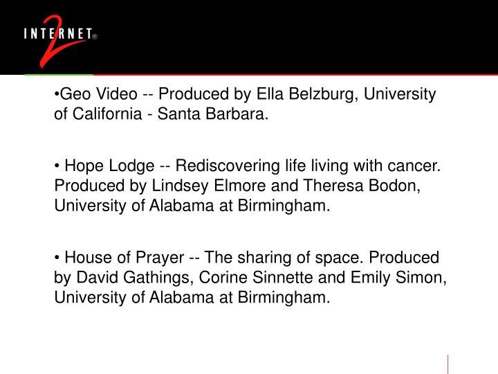Geo Video -- Produced by Ella Belzburg, University of California - Santa Barbara.