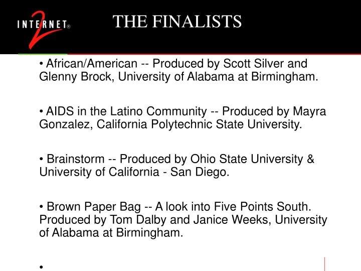 THE FINALISTS