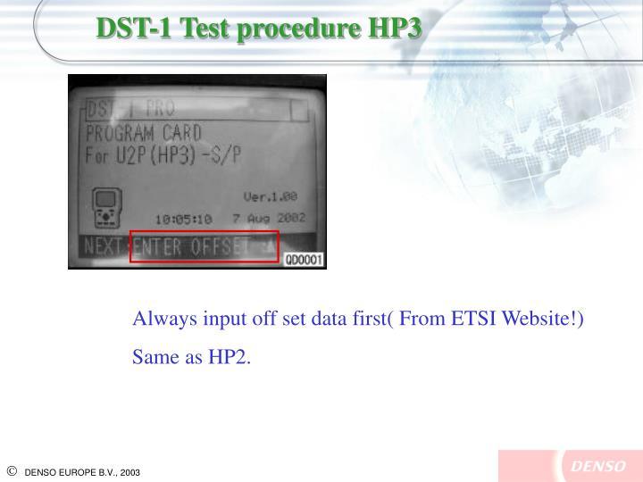 DST-1 Test procedure HP3