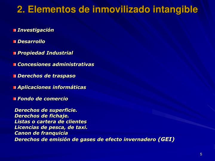 2. Elementos de inmovilizado intangible