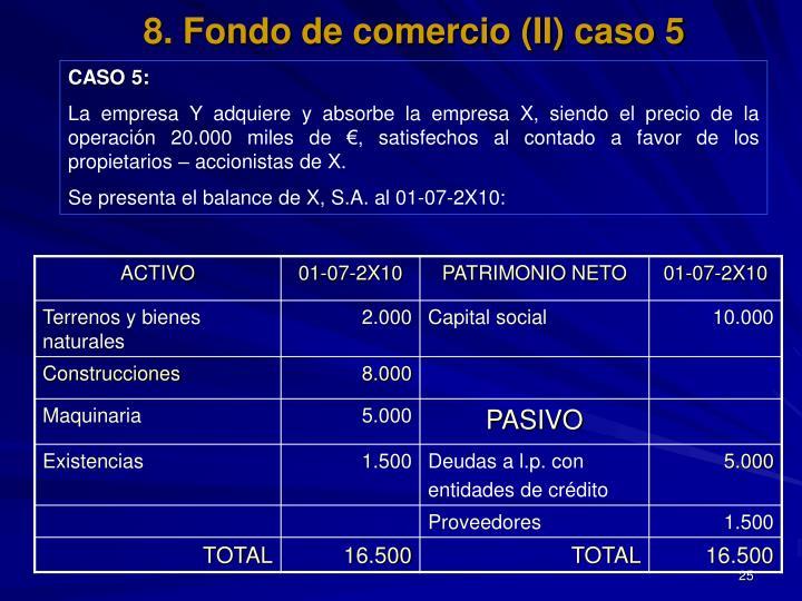8. Fondo de comercio (II) caso 5