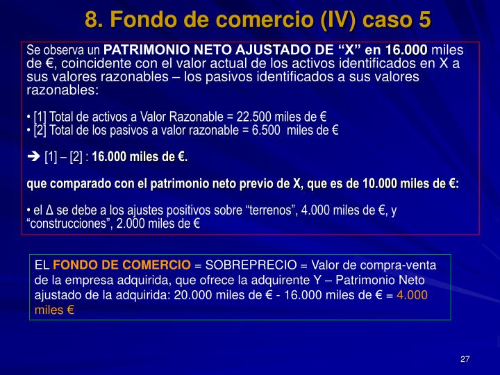 8. Fondo de comercio (IV) caso 5