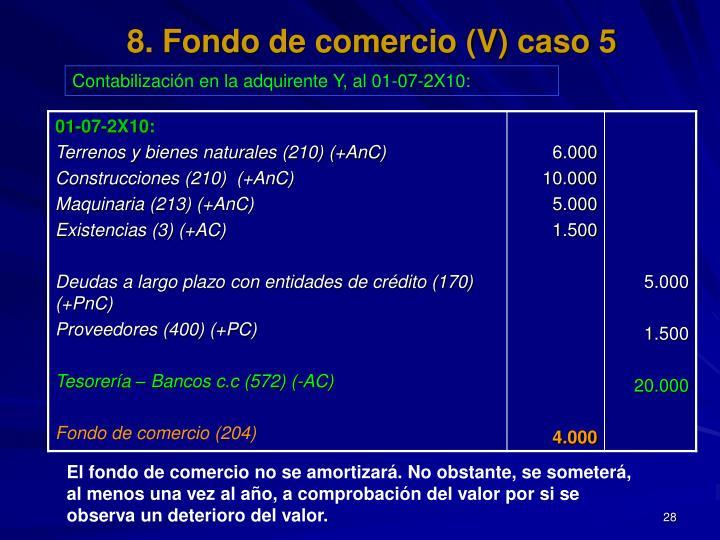 8. Fondo de comercio (V) caso 5