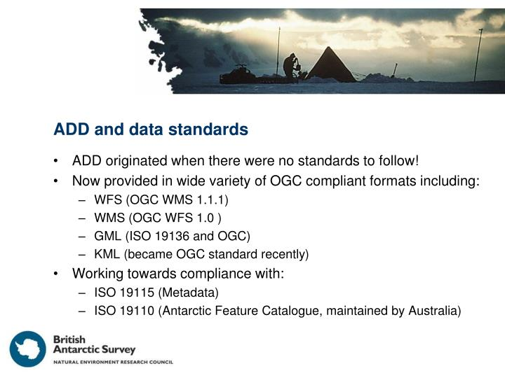 ADD and data standards