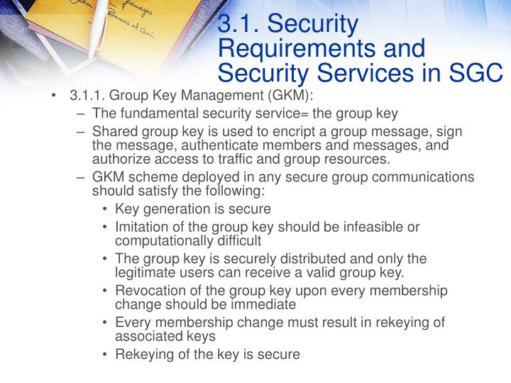 3.1. Security Requirements and Security Services in SGC