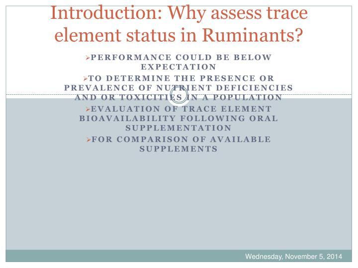 Introduction why assess trace element status in ruminants