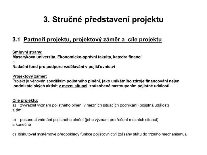 3. Stručné představení projektu