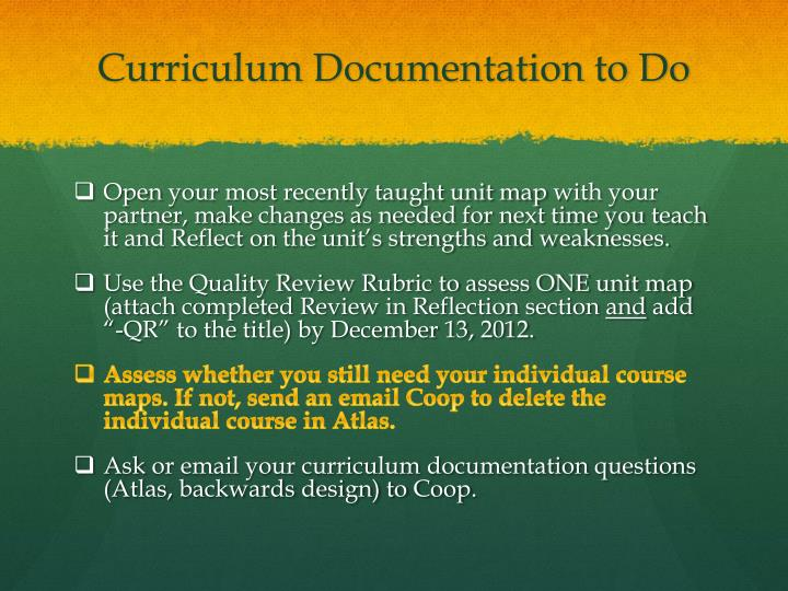 Curriculum Documentation to Do
