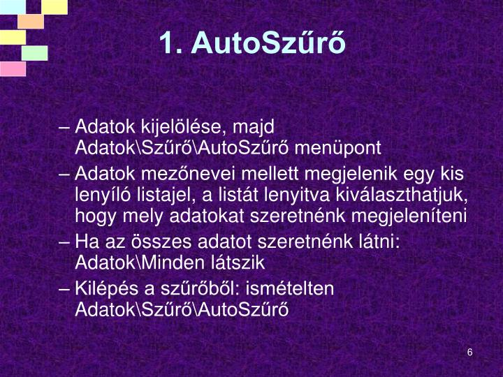 1. AutoSzűrő