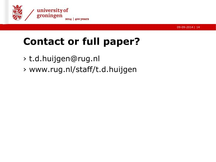 Contact or full paper?