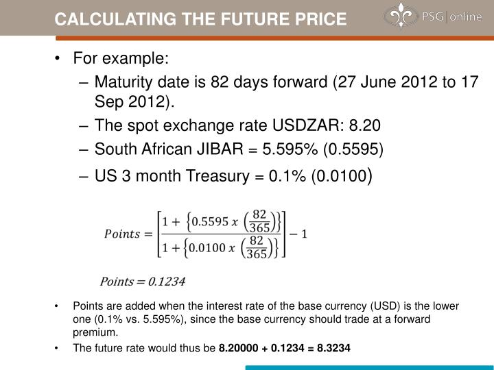 CALCULATING THE FUTURE PRICE