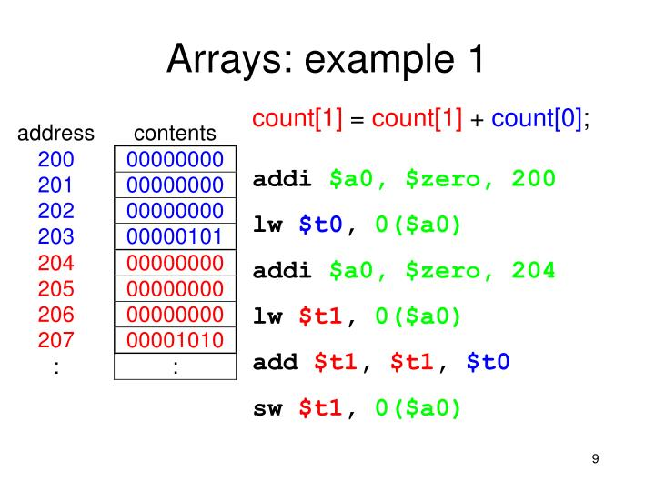 Arrays: example 1