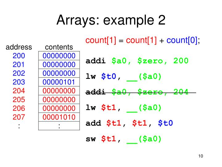 Arrays: example 2