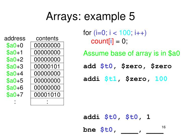 Arrays: example 5