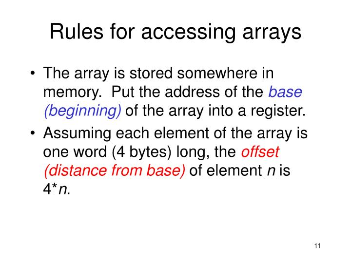 Rules for accessing arrays