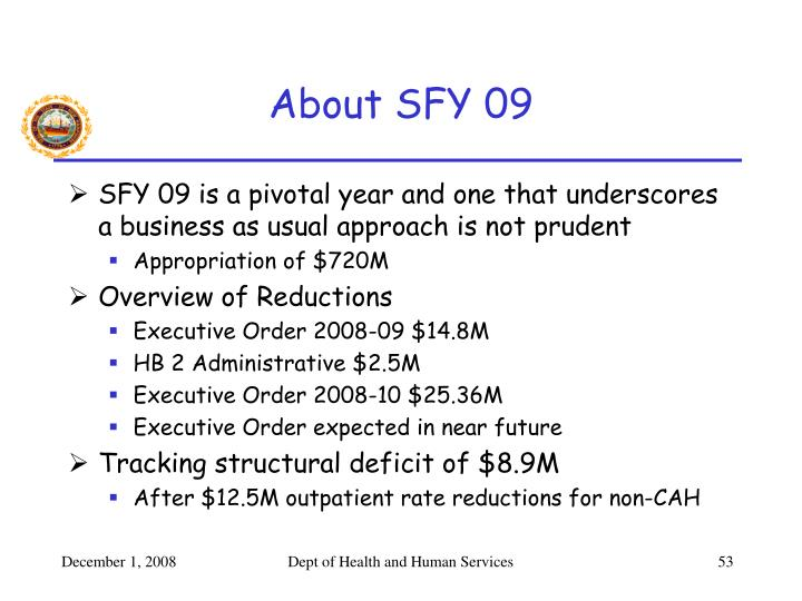 About SFY 09