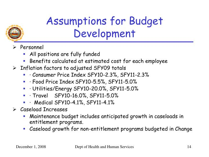 Assumptions for Budget Development