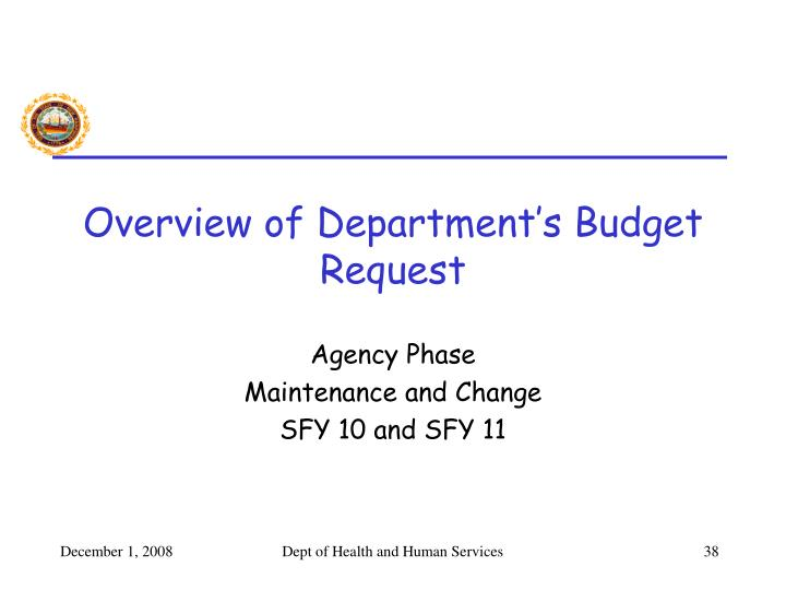 Overview of Department's Budget Request