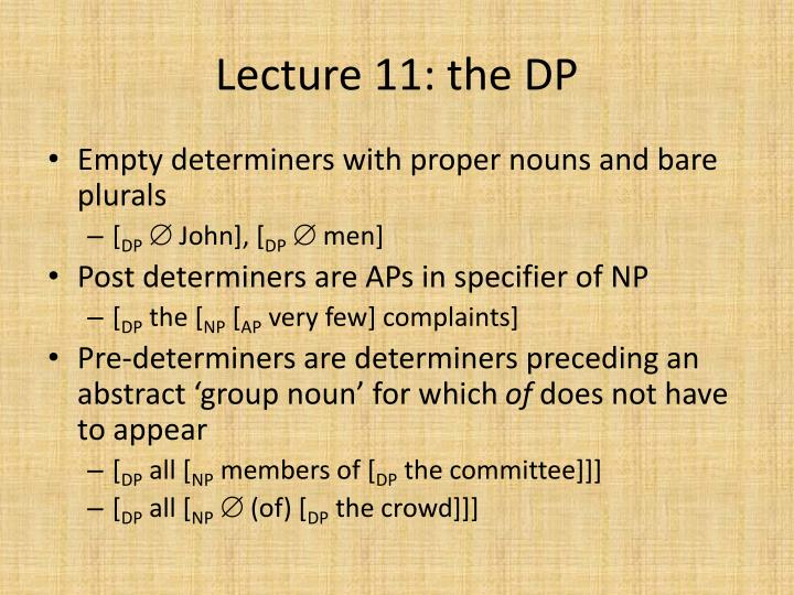 Lecture 11: the DP