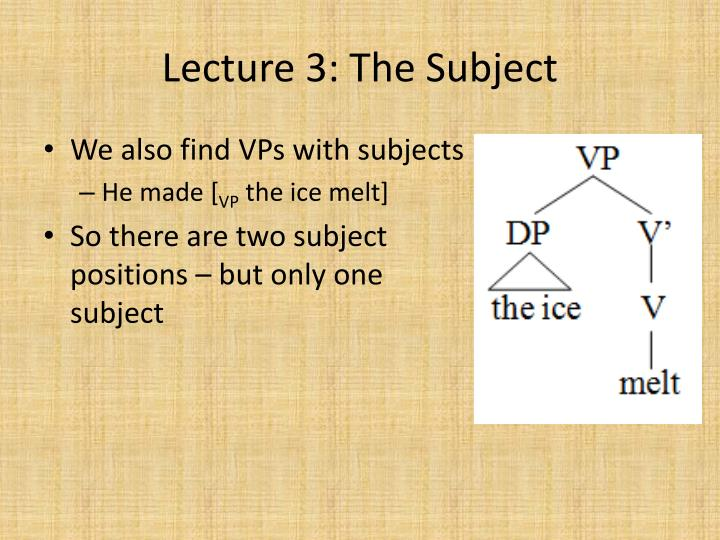 Lecture 3: The Subject