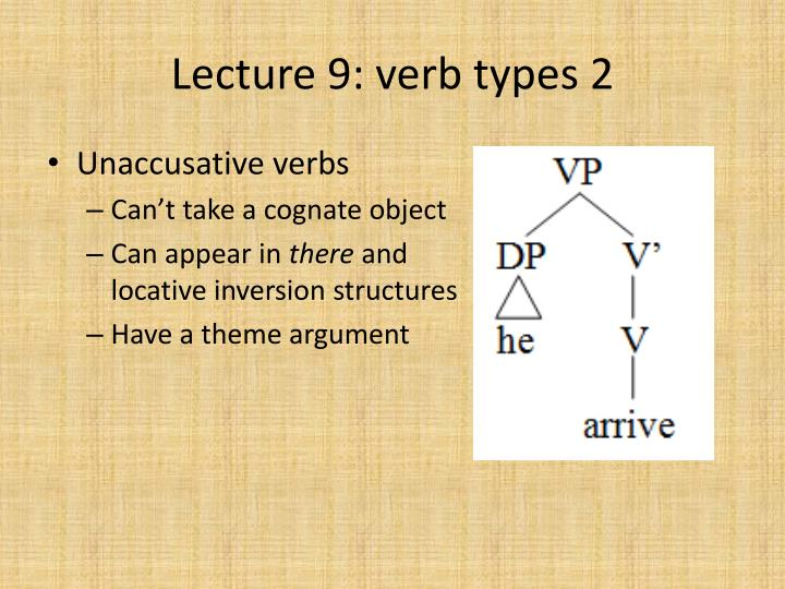 Lecture 9: verb types 2