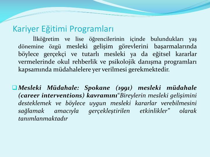 Kariyer Eitimi Programlar