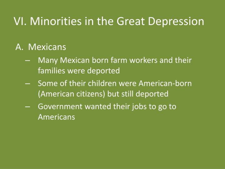 VI. Minorities in the Great Depression