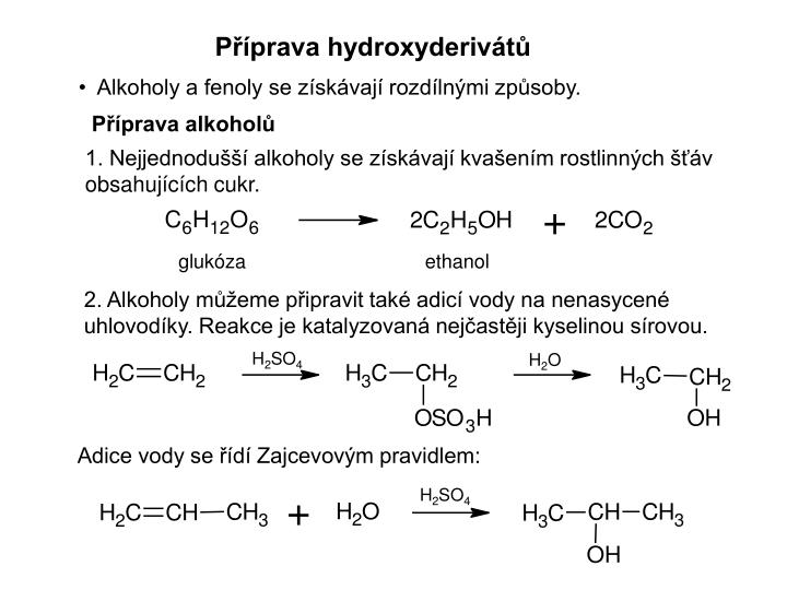 Příprava hydroxyderivátů