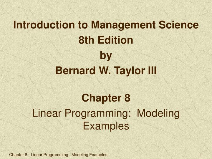 Introduction to Management Science