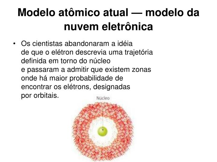 Modelo atômico atual — modelo da nuvem eletrônica