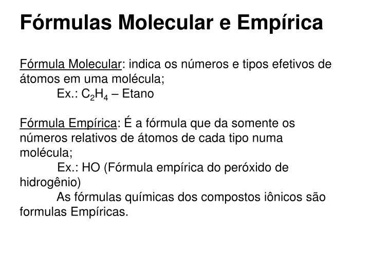 Fórmulas Molecular e Empírica
