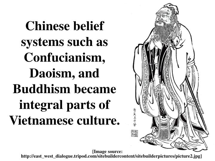 Chinese belief systems such as Confucianism, Daoism, and Buddhism became integral parts of Vietnamese culture.