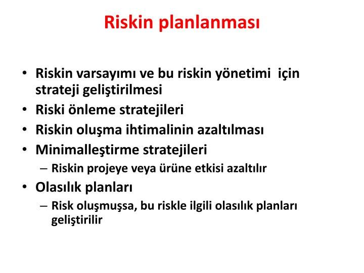 Riskin planlanması