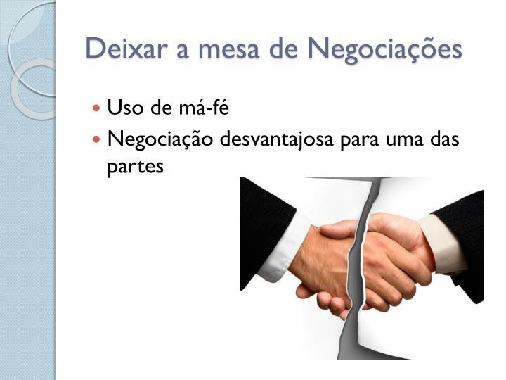 Deixar a mesa de Negociações