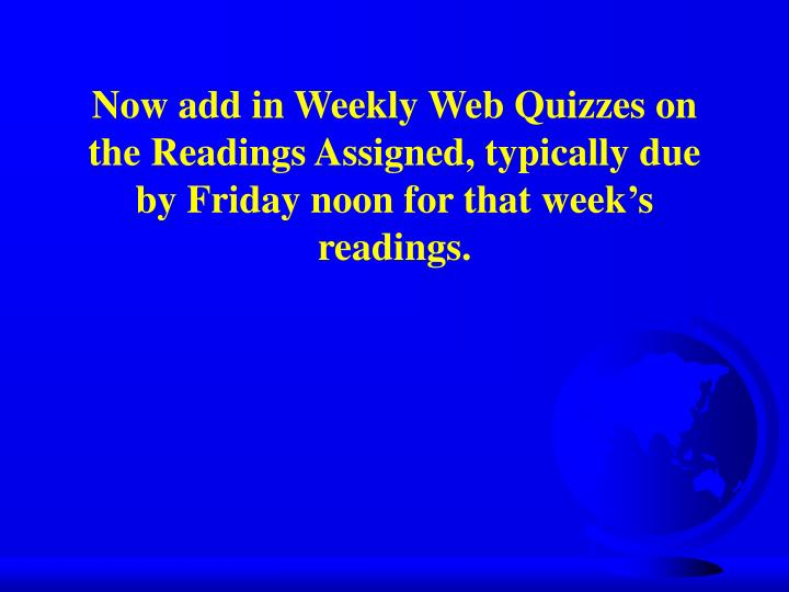 Now add in Weekly Web Quizzes on the Readings Assigned, typically due by Friday noon for that weeks readings.