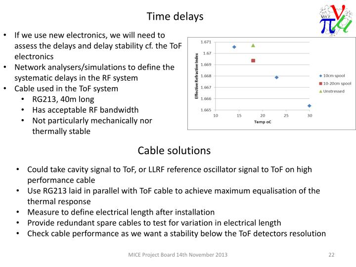 If we use new electronics, we will need to assess the delays and delay stability cf. the