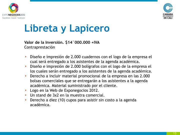 Libreta y Lapicero