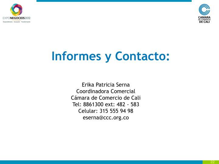 Informes y Contacto: