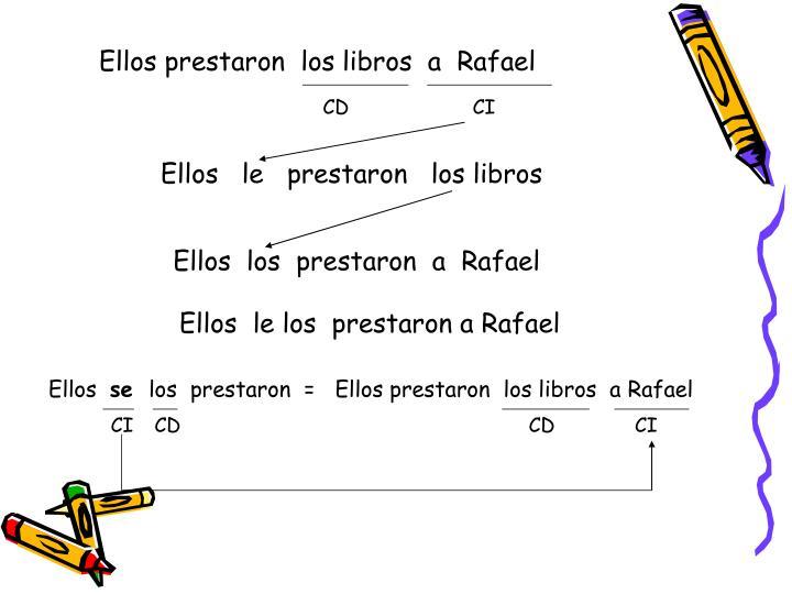 Ellos prestaron  los libros  a  Rafael