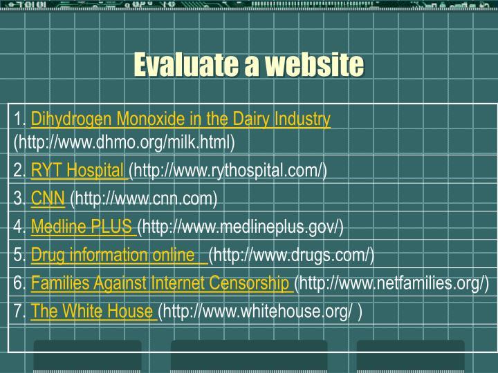 Evaluate a website