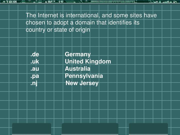The Internet is international, and some sites have chosen to adopt a domain that identifies its country or state of origin