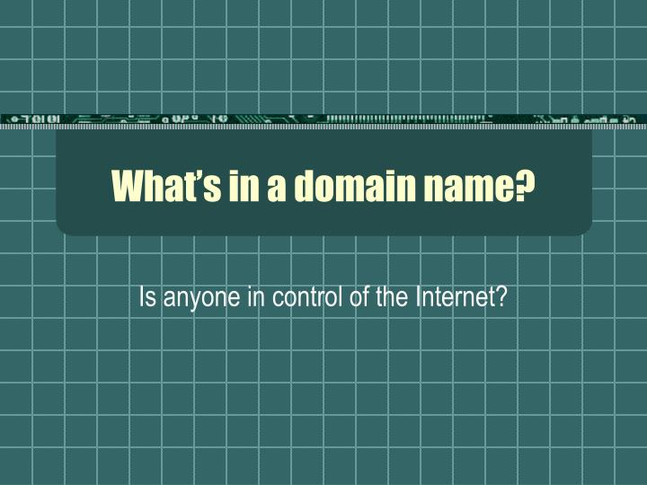What s in a domain name